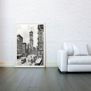 Theater District, New York 1900s, Decorative Arts, Prints & Posters, Wall Art Print, Poster Any Size - Black and White Poster